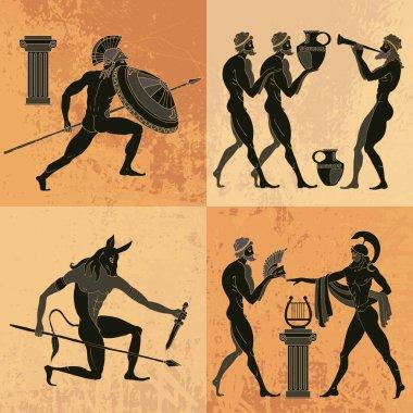 Ancient Greek mythology set. Ancient Greece scene