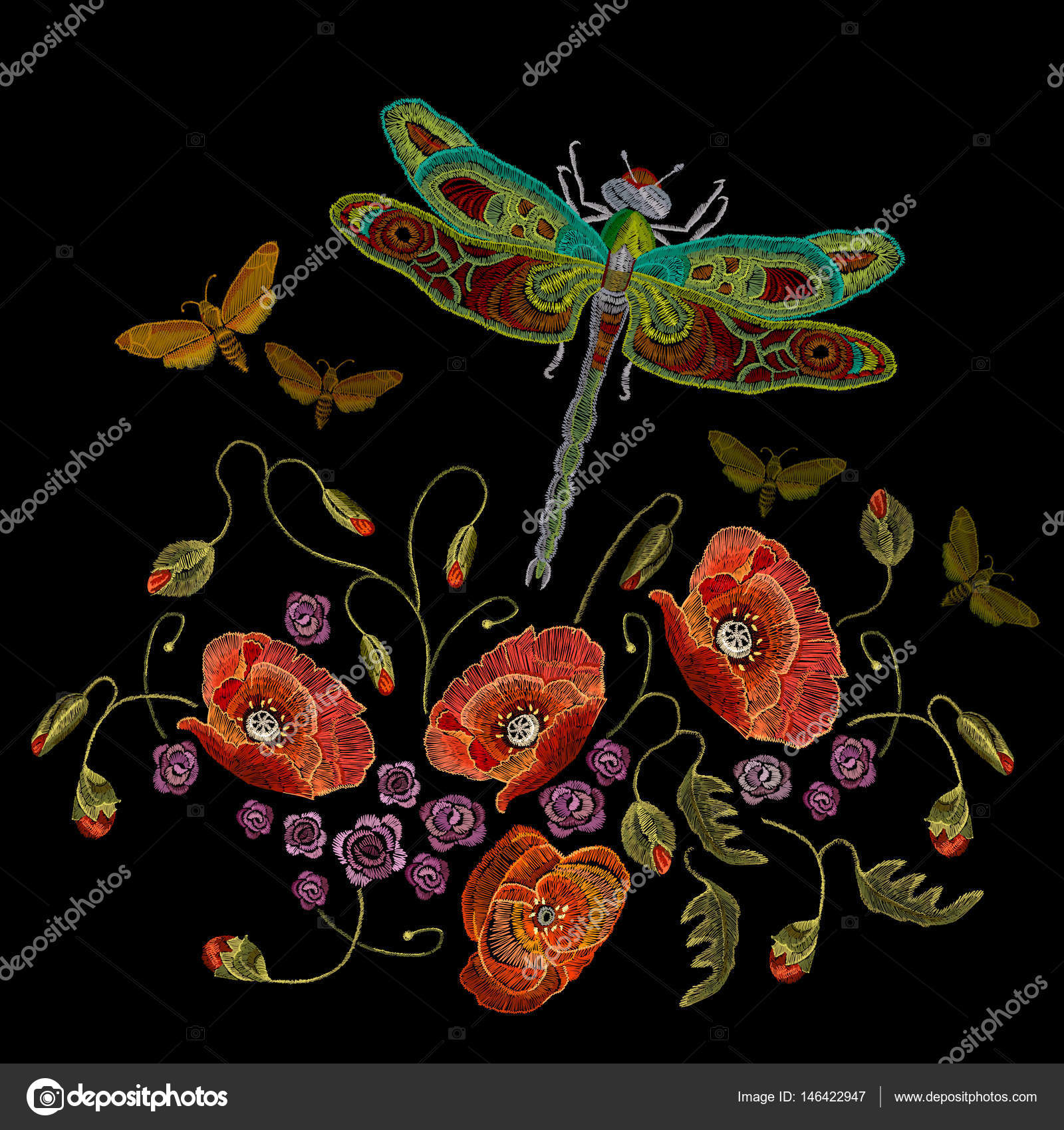 Bordado, vector de libélulas y mariposas de amapolas — Vector de ...