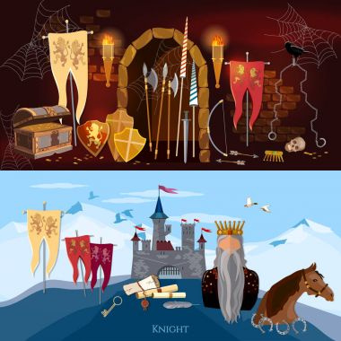 Medieval banners, old king, joust, knight, medieval castle