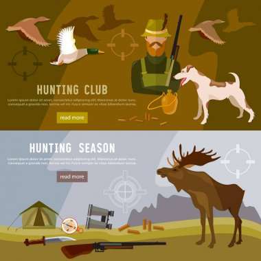 Hunting sport banners, hunter with rifle and dog in forest
