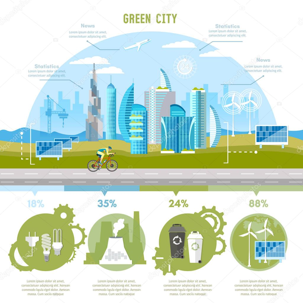 Green city infographic. Eco city background urban landscape