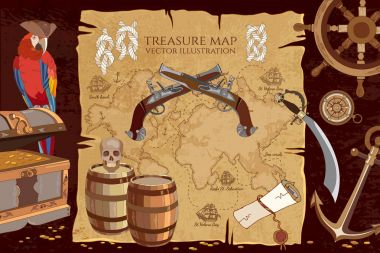 Old pirate treasure map. Treasure chest parrot steering wheel