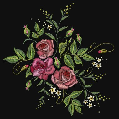 Roses embroidery on a black background. Classic style embroidery