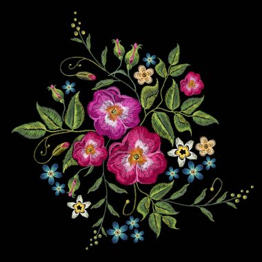 Embroidery wild roses, dogrose flowers. Classic style embroidery