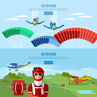 Skydiver jumps from an airplane vector