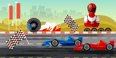Racing cars on a start line formula car speeding. Car racing