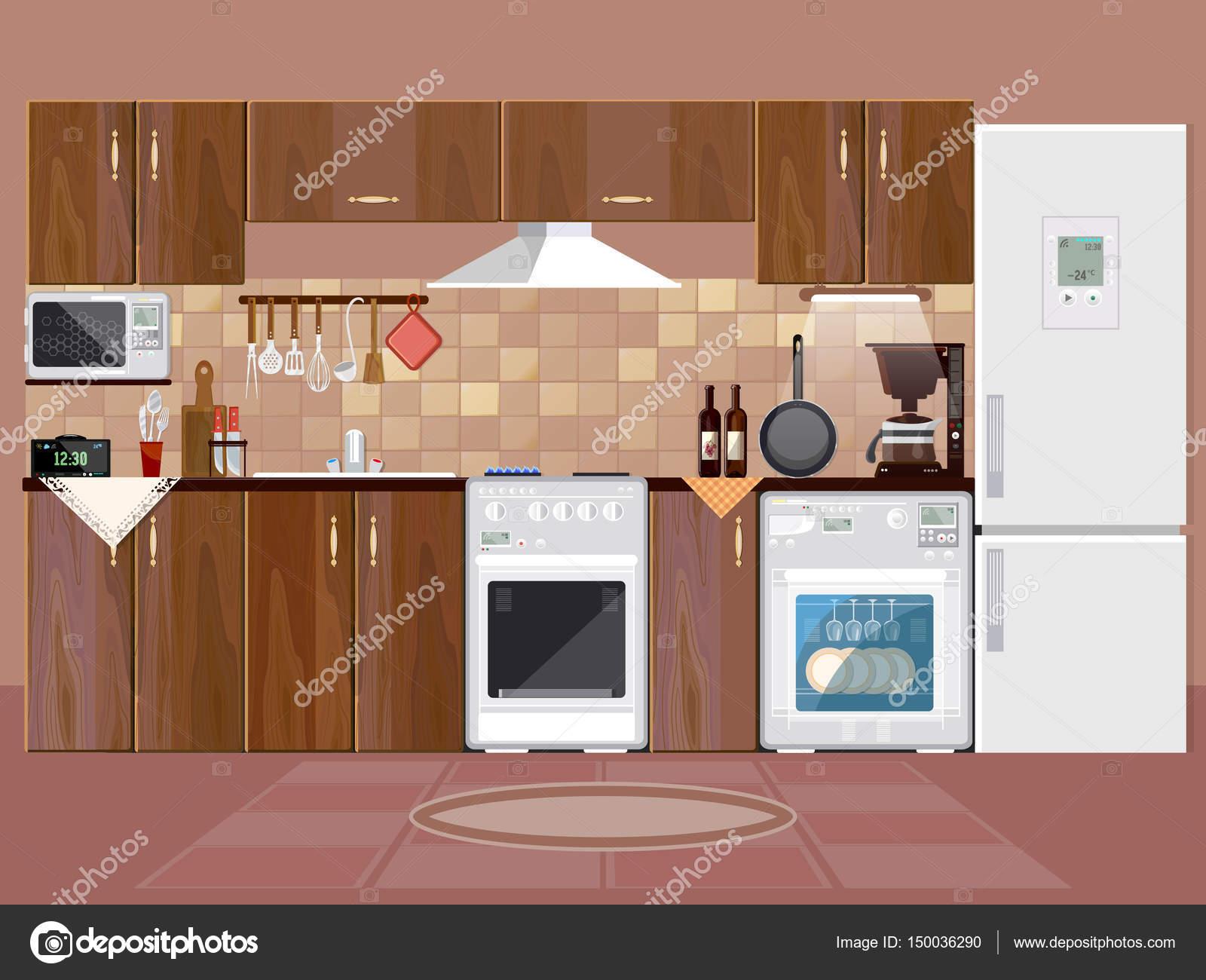 Fundo Interior De Cozinha Com M Veis Vetores De Stock