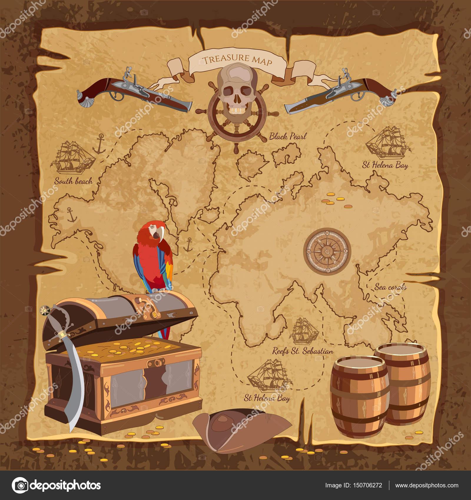 Carte Au Tresor Histoire.Ancienne Carte Au Tresor De Pirate Crane De Perroquet Pour