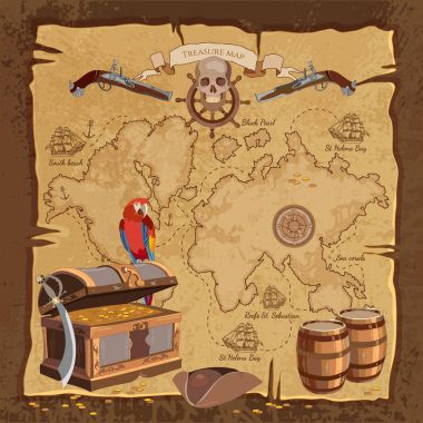 Old pirate treasure map. Treasure chest parrot skull