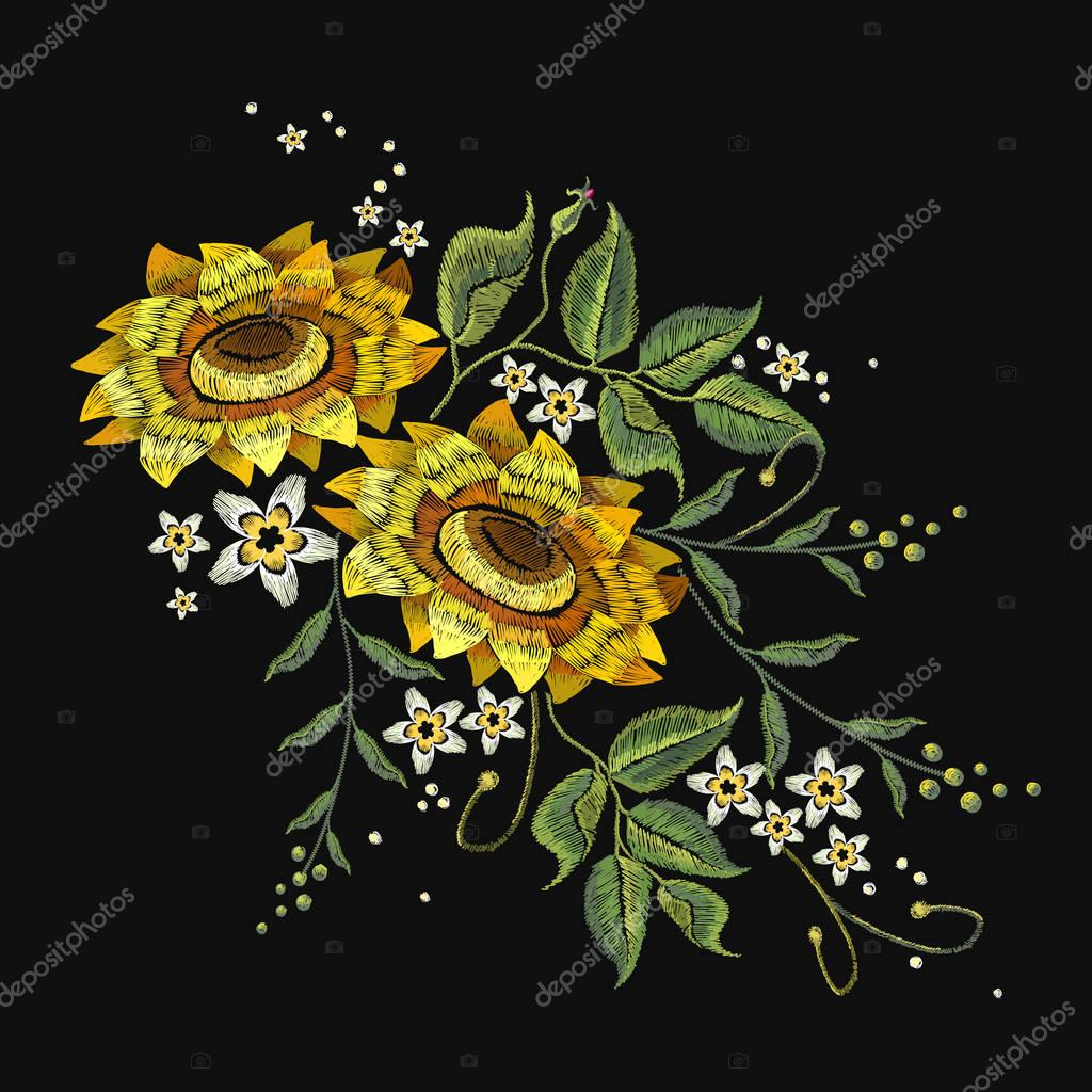 Embroidery sunflowers, flowers vector. Beautiful bouquet