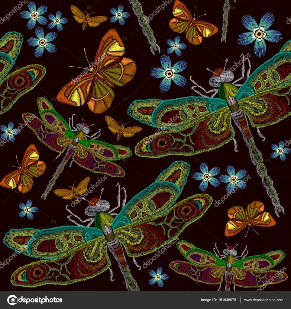 Patrones sin fisuras de la libélula de bordado, bordado clásico ...