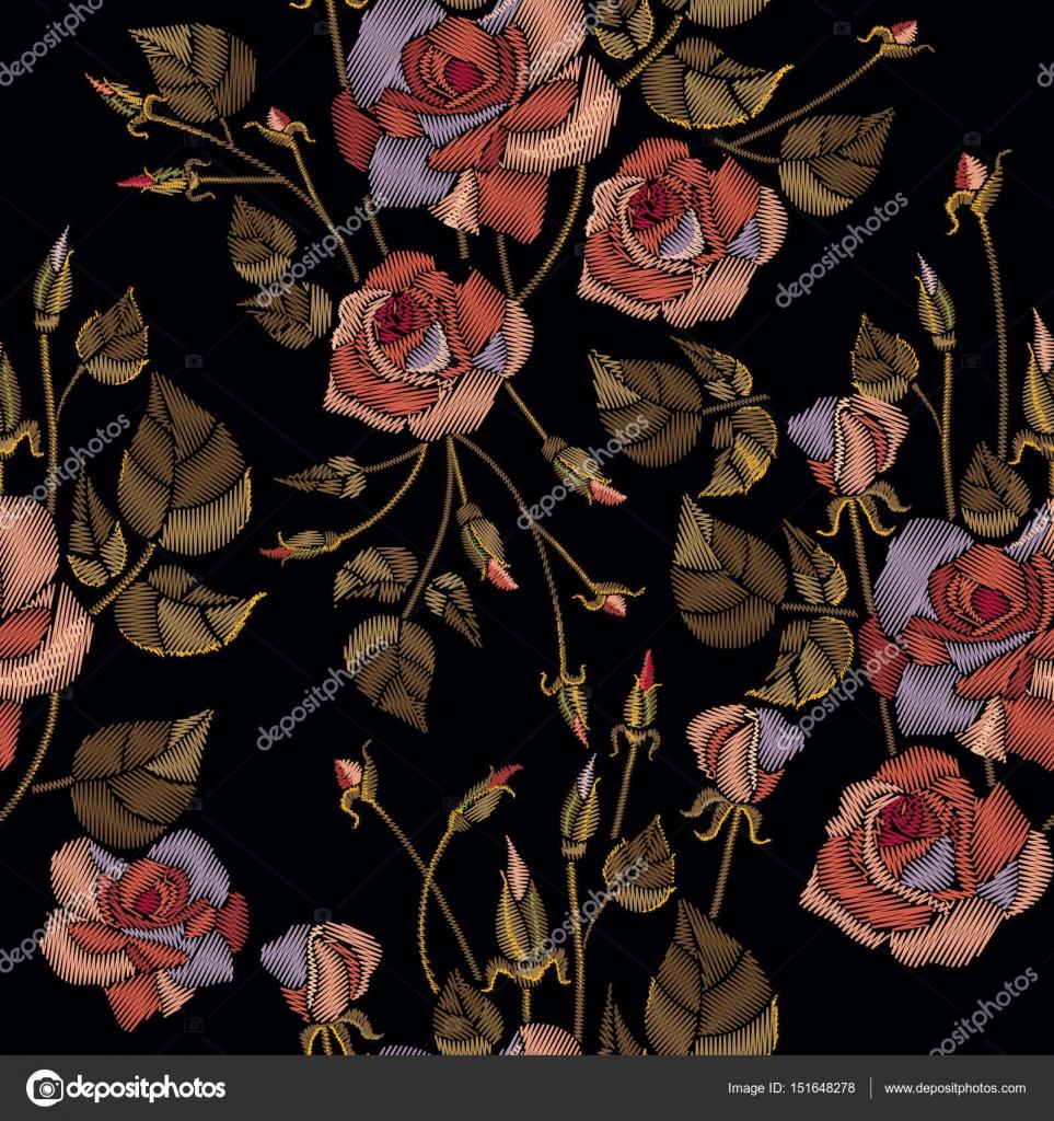 Bordado Clasico Patron Dibujado A Mano Hermosas Rosas Flores