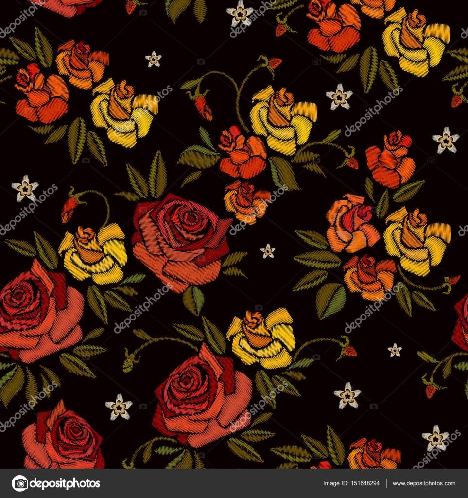 Bordado de hermoso capullos de rosas dibujados a mano de patrones ...