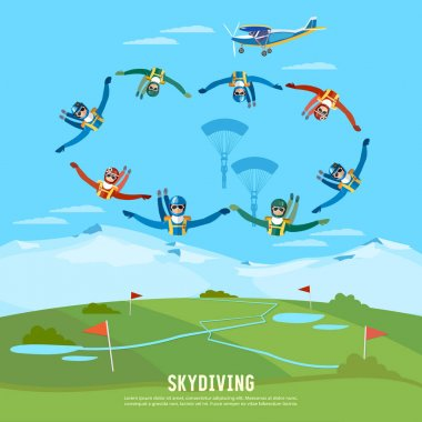 Skydiver jumps from an airplane vector. Skydivers
