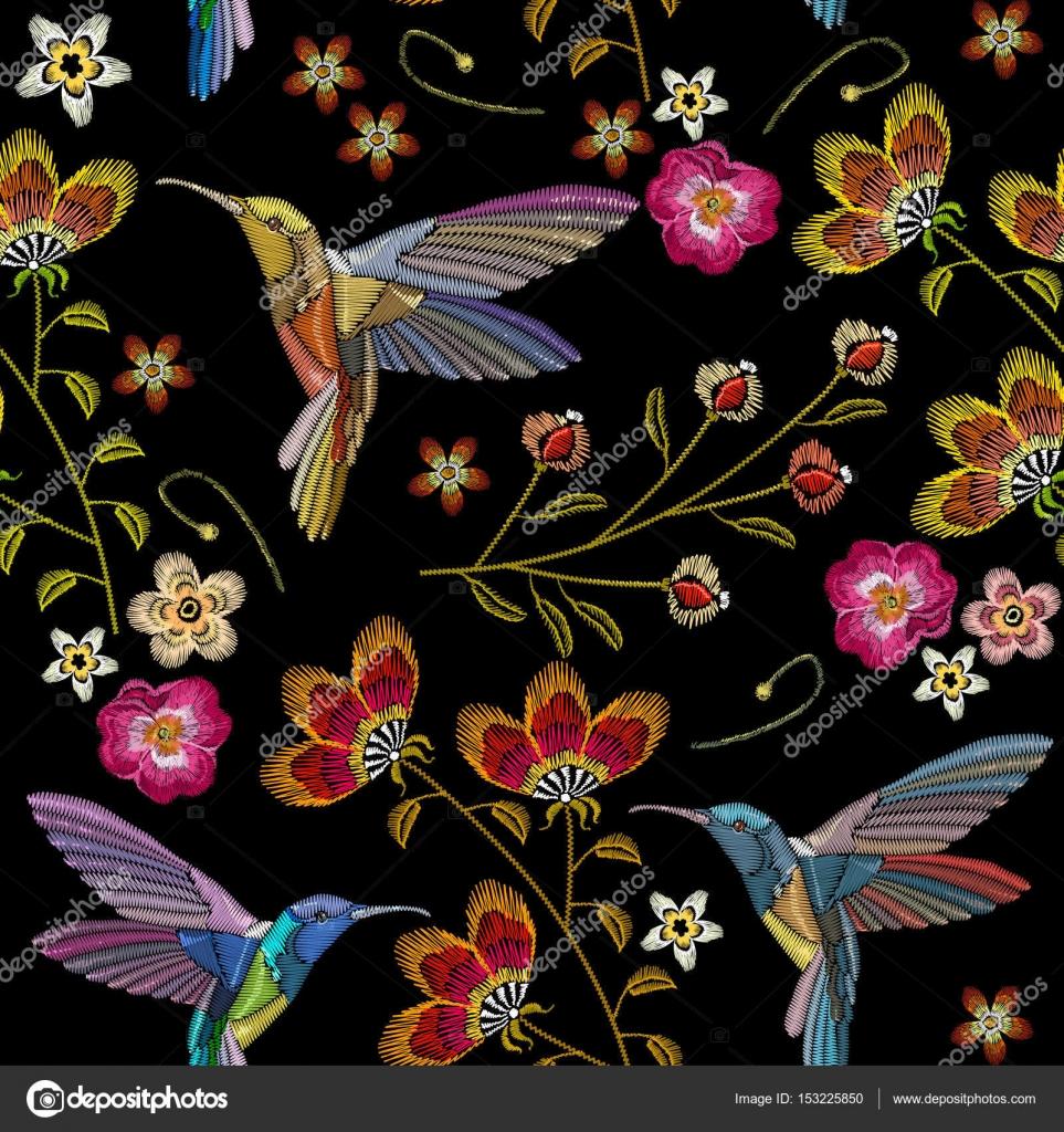 Colibrí y patrones sin fisuras del bordado de flores tropicales ...