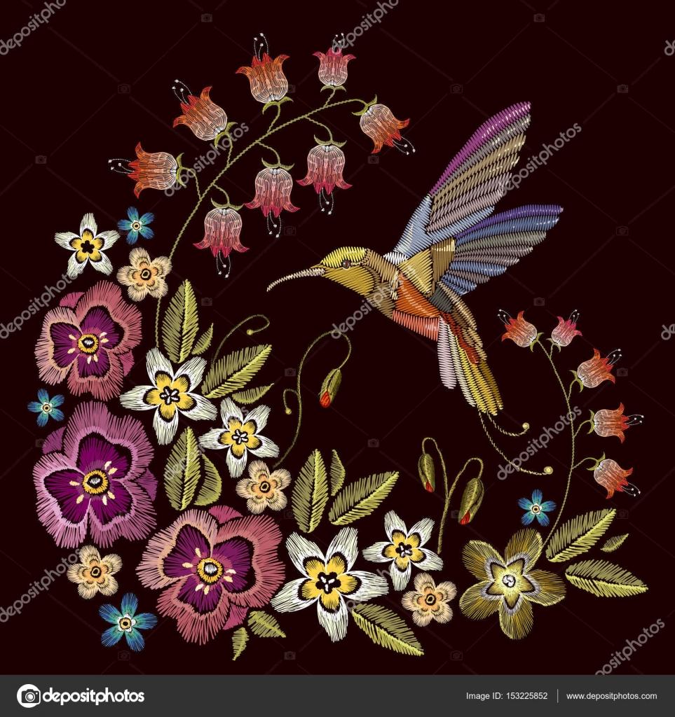 Colibri Y El Bordado De Flores Vector De Stock C Matriyoshka