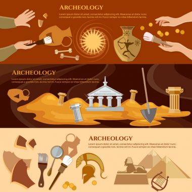Archeology and paleontology banner. Archaeological excavation
