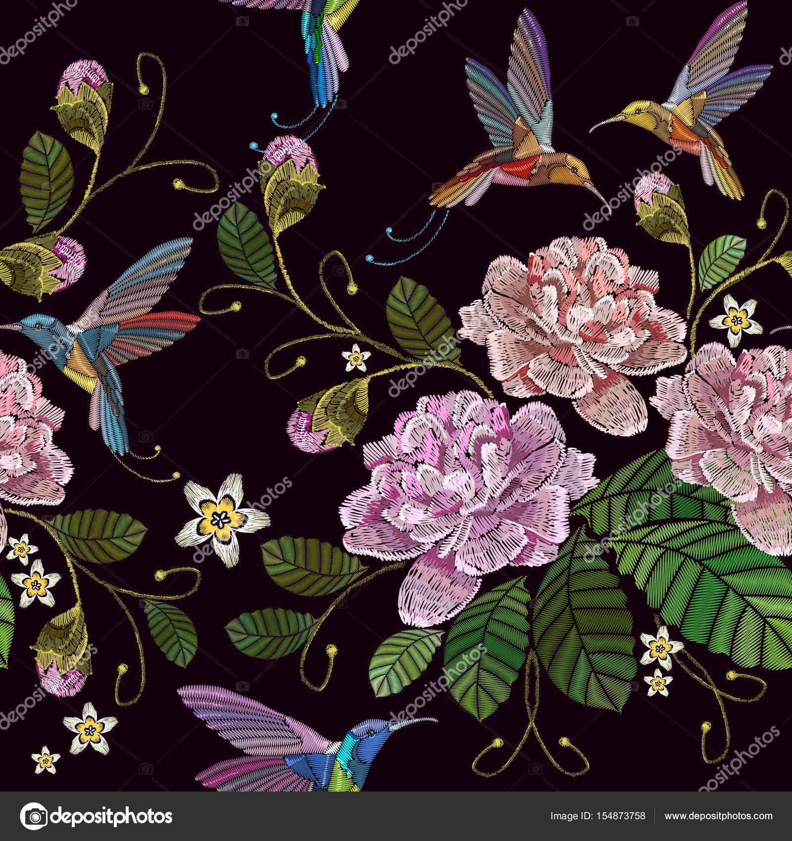 Peonías de bordados y patrones sin fisuras de pájaro tarareo ...