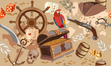 Old pirate treasure map seamless pattern. Treasure chest, parrot
