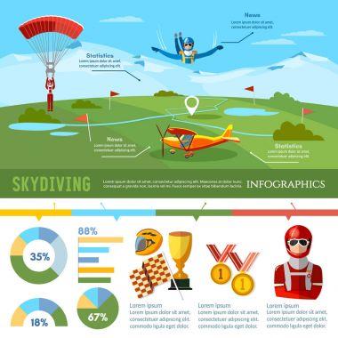 Skydiving teamwork infographic championship skydiver jumps