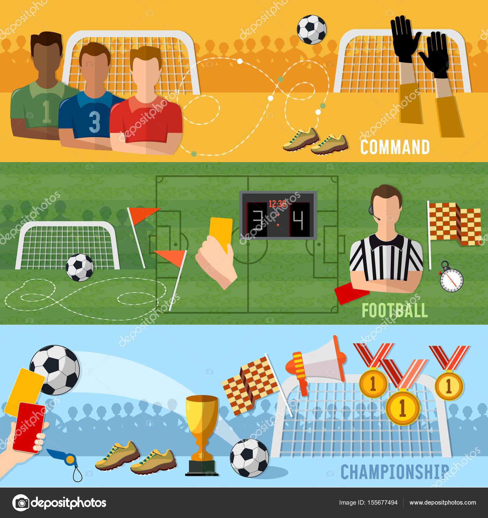 Fußball-Banner, Fußball Sport Team Zeichen und Symbole — Stockvektor ...