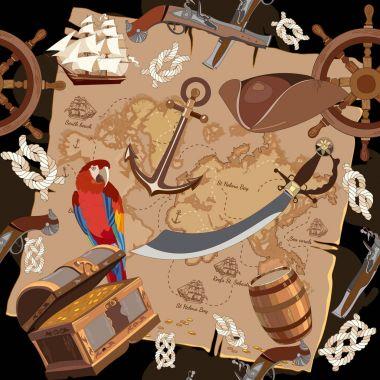 Old pirate treasure map seamless pattern. Treasure chest