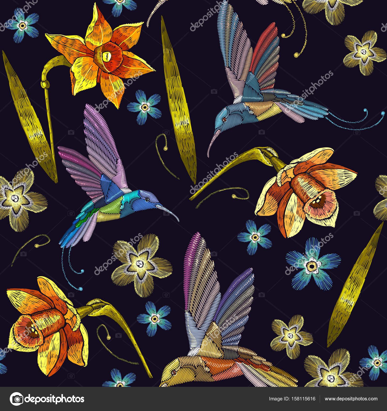 Colibrí y narcissuses amarillos bordados exóticos tropicales ...