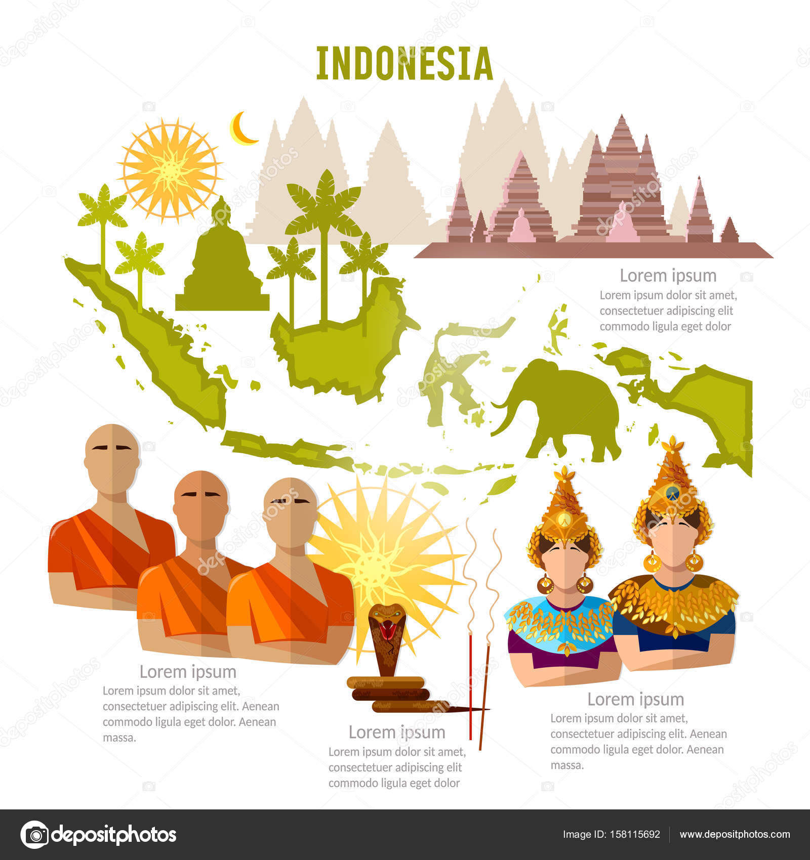Indonesia infographics. sights, culture, traditions, map, people — Stock Vector © Matriyoshka