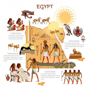 Ancient Egypt infographics. sights, culture. Egyptian gods