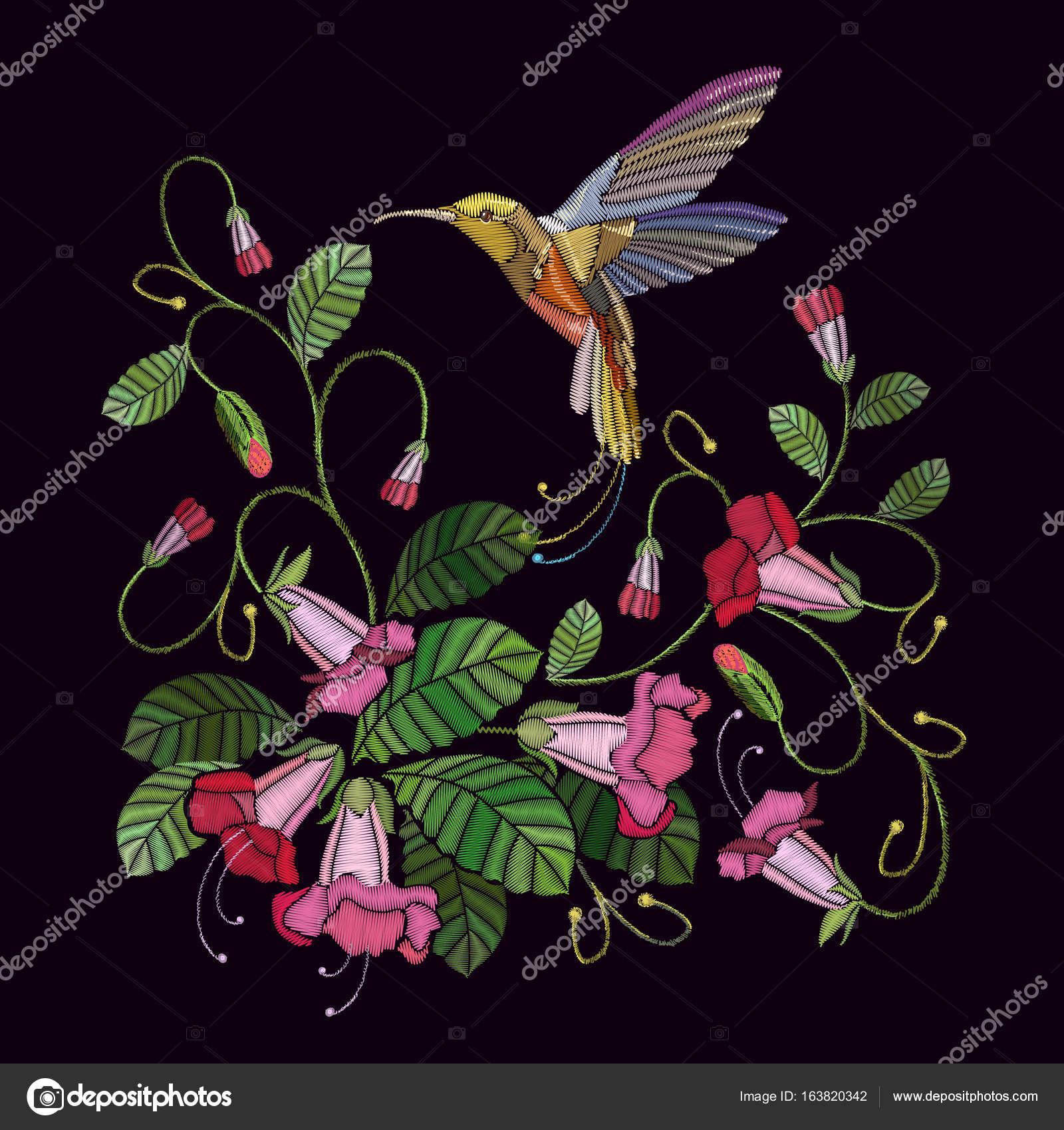 刺繍花鐘、鳥のハミング — ストックベクター © matriyoshka #163820342