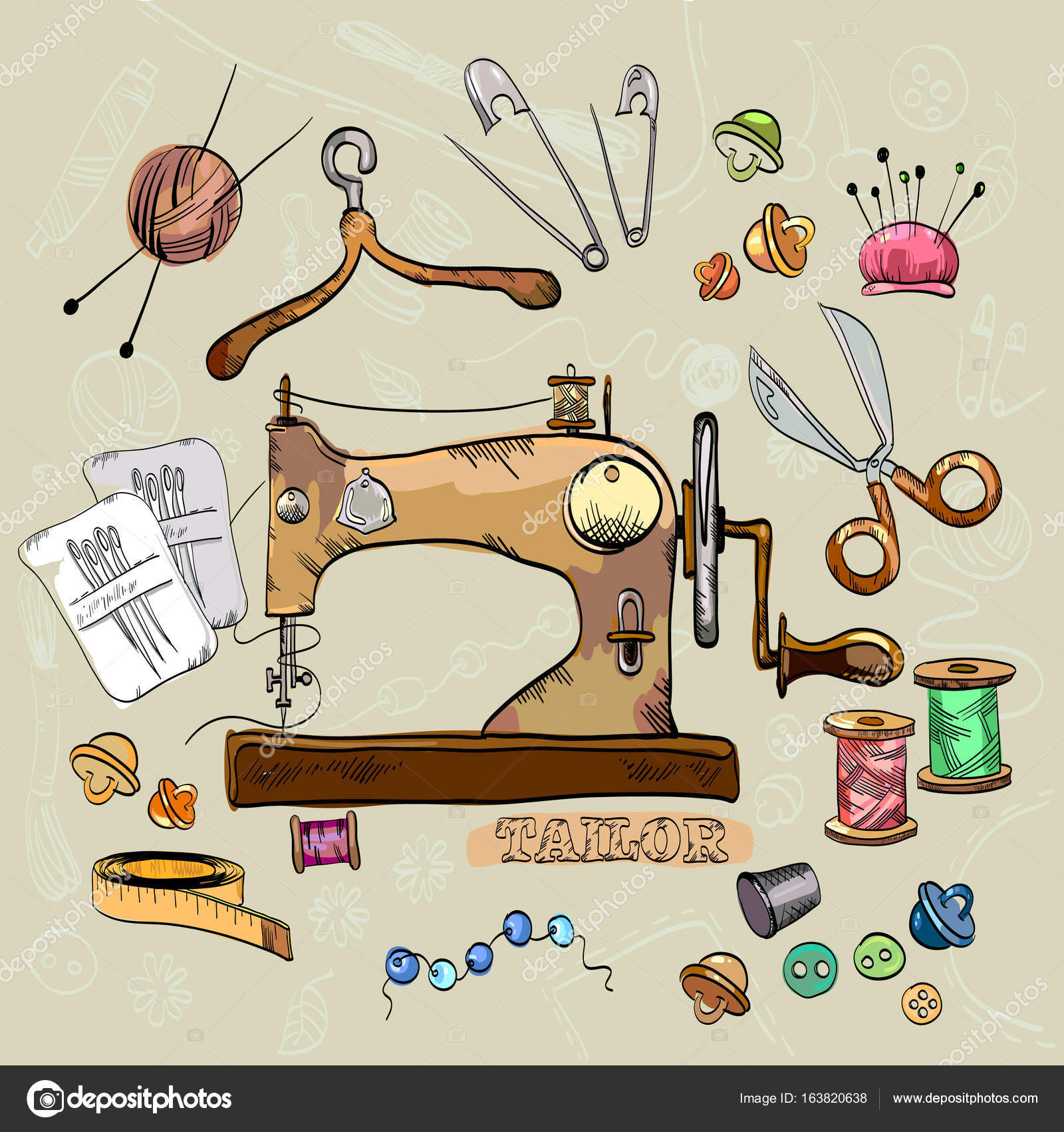 картинка швейная машина для скрапбукинга