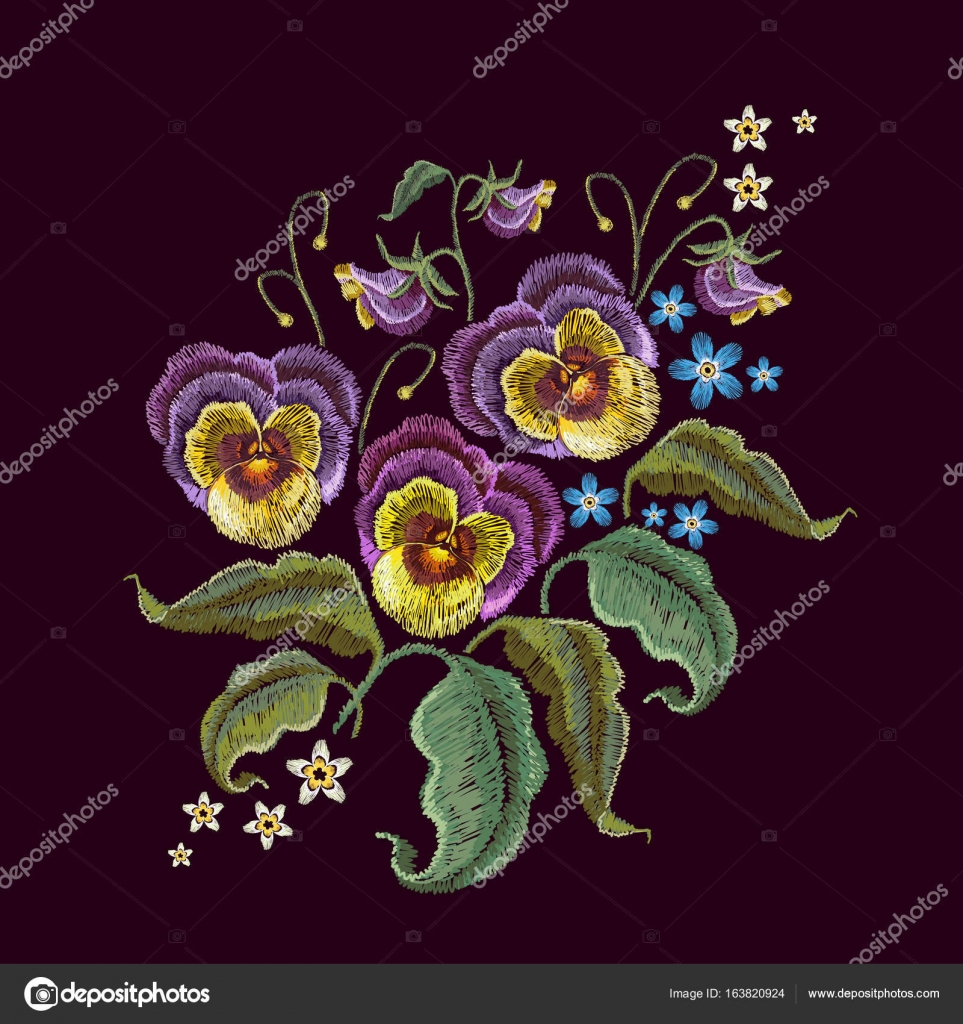 Violets Flower Embroidery Classical Embroidery Beautiful Flower Stock Vector C Matriyoshka 163820924