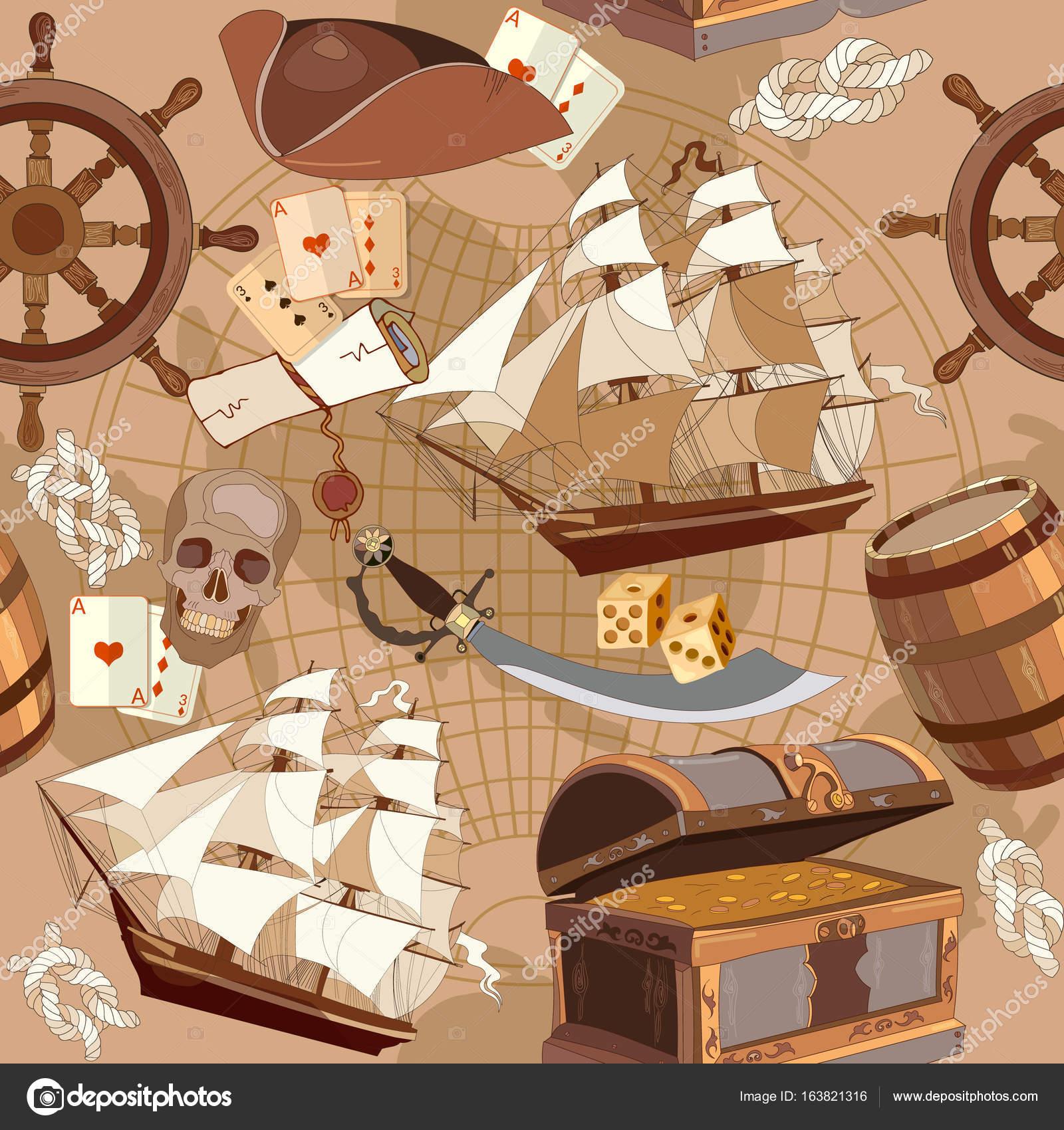 Oude piraten schat kaart naadloze patroon, avontuur verhalen ...