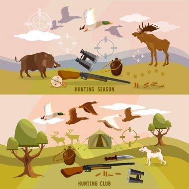 Hunting sport, hunting for ducks, elk, boar.