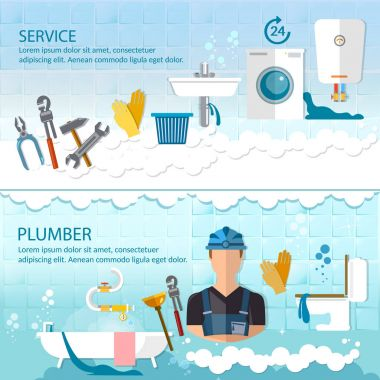Professional plumber banner plumbing service different tools