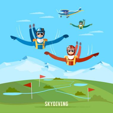 Skydiver jumps from an airplane vector. Teamwork extreme sport