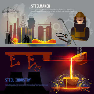 Steel industry banner, iron and steel factory workshop