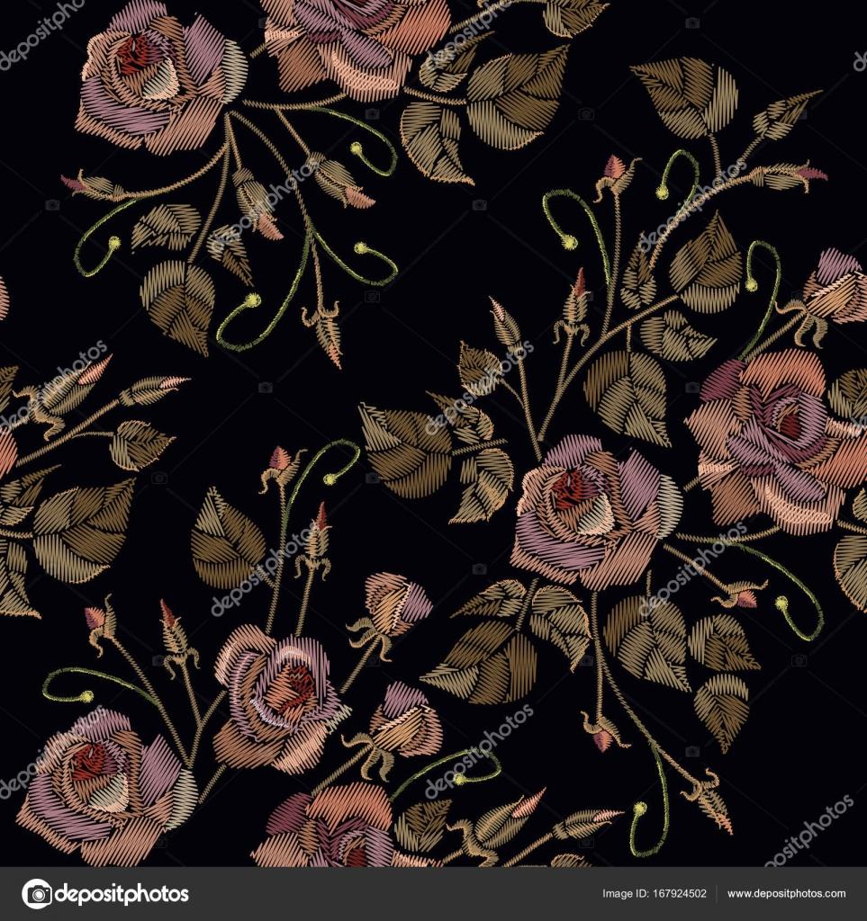 Patrones Sin Fisuras De Bordado Vintage Rosas Sobre Un Fondo Negro