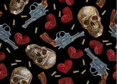 Embroidery skulls, hearts and guns seamless pattern. Wild west