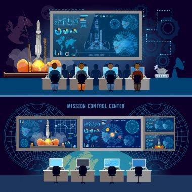 Mission Control Center banner, start rocket in space