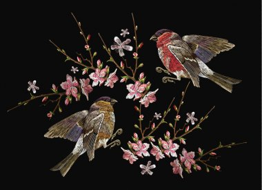 Embroidery birds and blossoming cherry vector