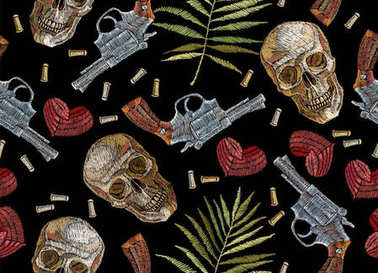 Embroidery skulls, tropical palm leaves hearts and guns seamless
