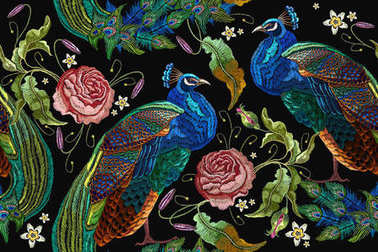 Embroidery peacocks and flowers peonies seamless pattern