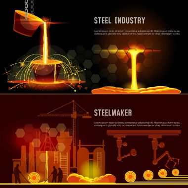 Steel industry banner. Hot steel pouring in steel plant