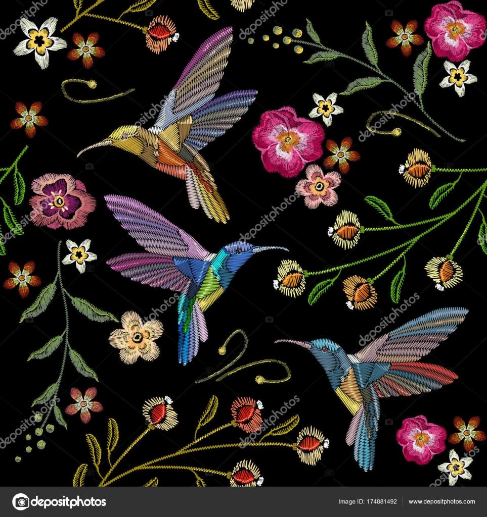 Hermosos colibríes y bordado de flores exóticas — Vector de stock ...