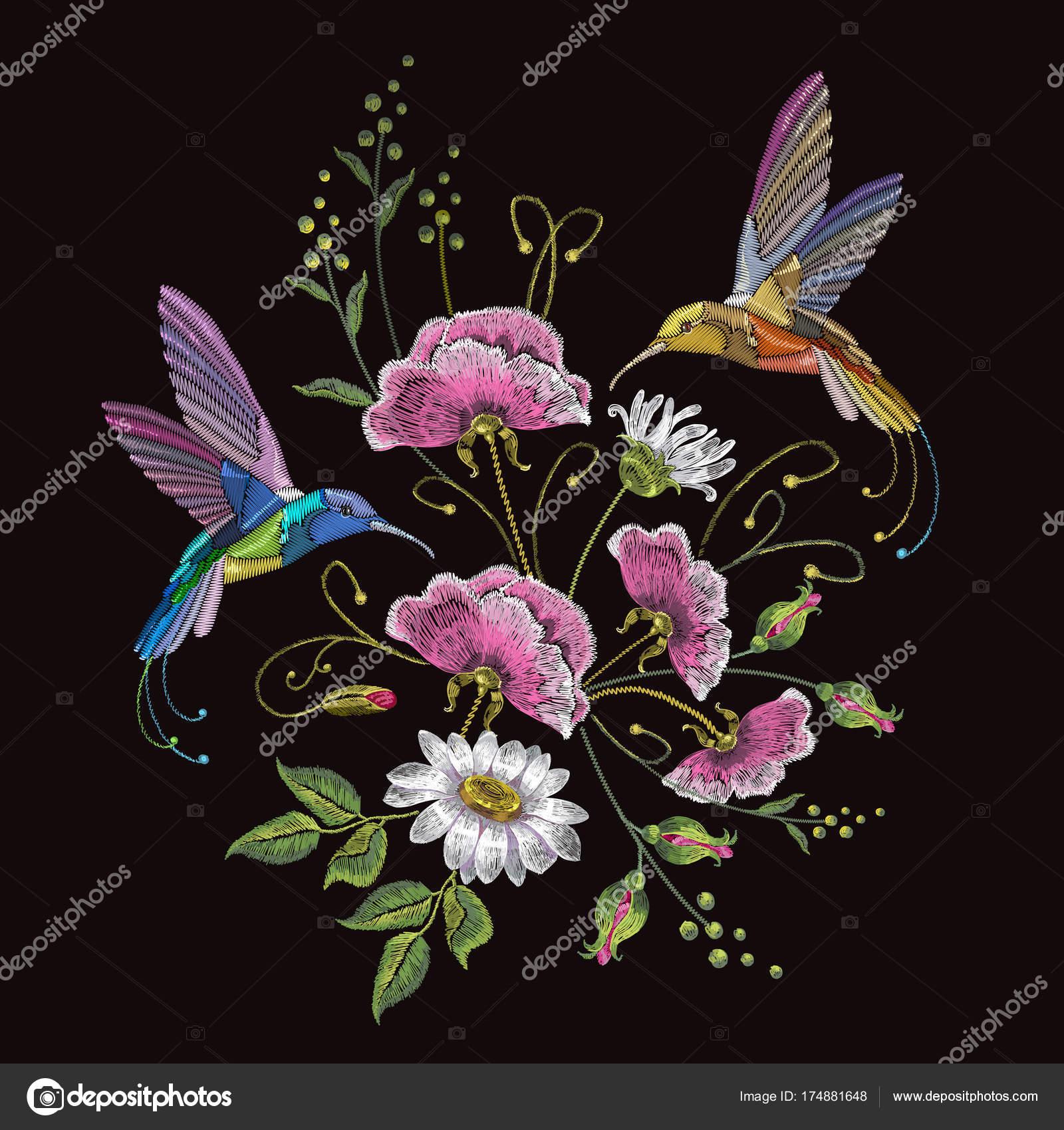 Colibrí de bordado y manzanilla. Hermosos colibríes — Archivo ...