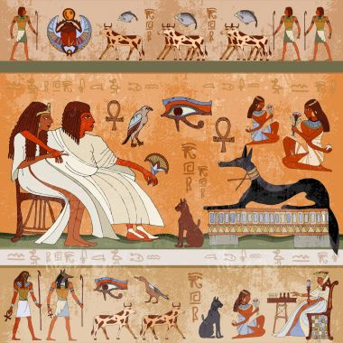 Ancient egypt scene. Egyptian gods and pharaohs