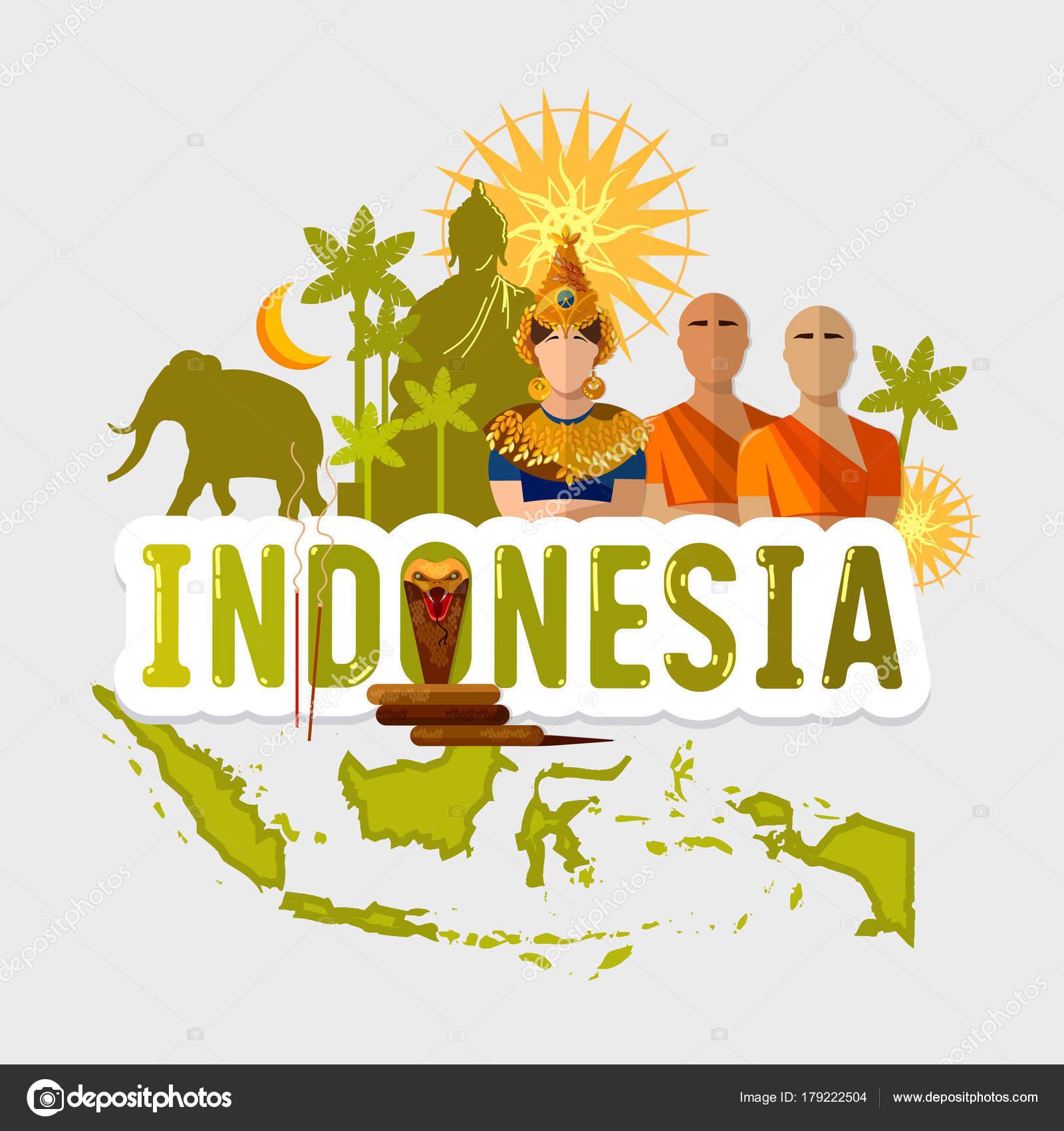 Reizen naar Indonesië. Tradities en cultuur — Stockvector © Matriyoshka 179222504