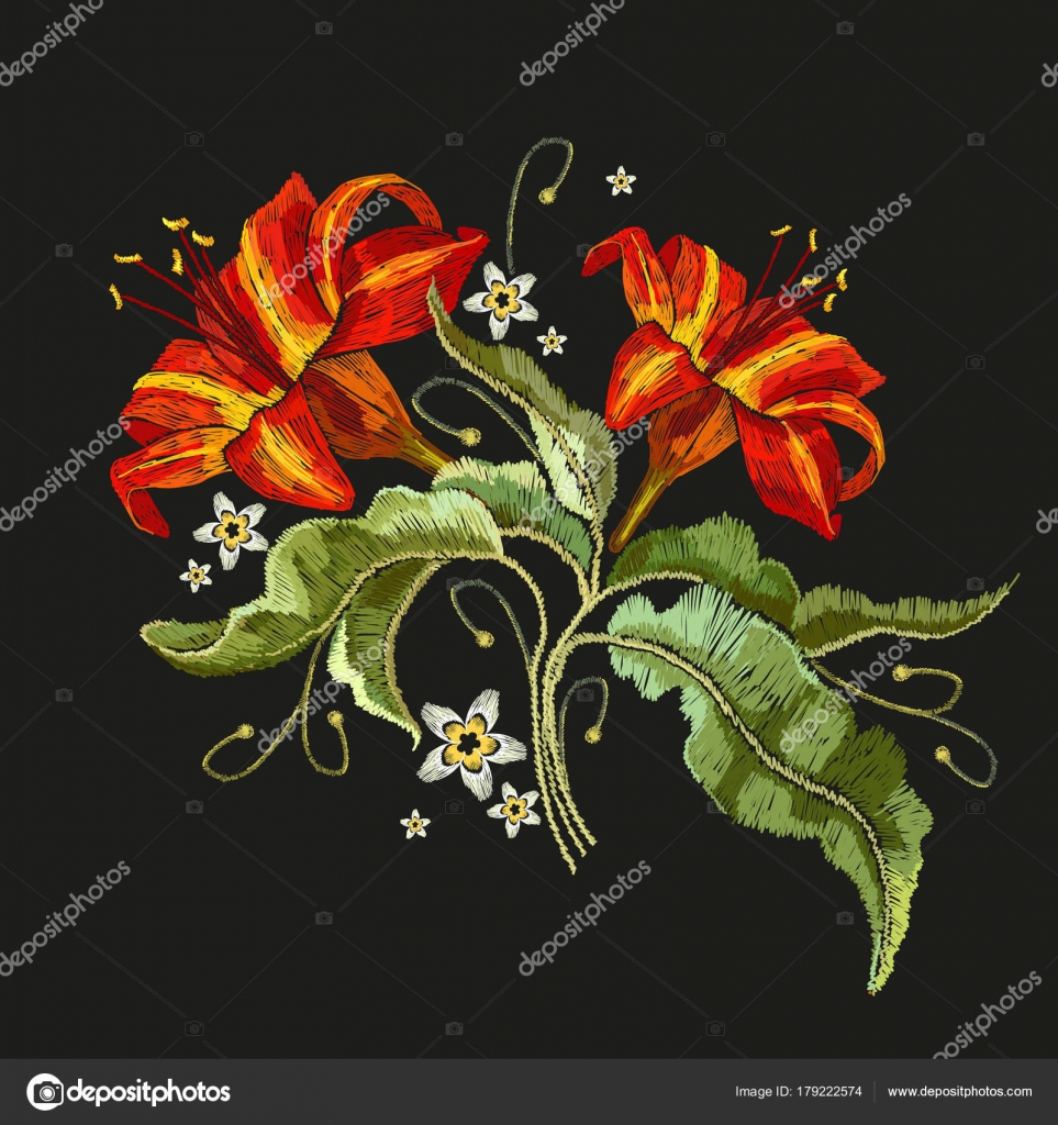 Embroidery Vintage Flowers Lily Classical Embroidery Lilies Stock