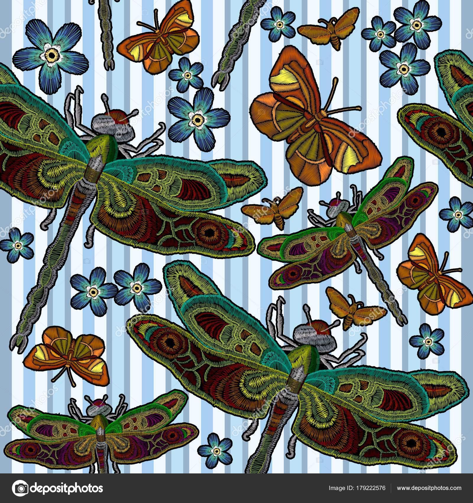 Patrón transparente de la libélula del bordado. Bordado clásico ...